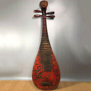 40and039and039 Chinese Antique Wood Pipa Lacquer Ware Pipa Musical Instrument Dragon