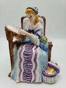 Yamada Originals Limited Edition Porcelain Music Box Lady Sewing Signed And