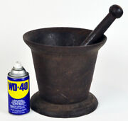 Rare Huge Antique Cast Iron Mortar And Pestle Assay Gold Mining Giant Miner Ore