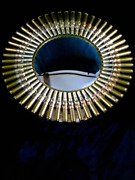 Bullet Shell Convex Mirror - Artwork - One Of A Kind - Panoramic Brass Mirror