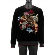 Dolce And Gabbana Runway Baroque Angels Bee Lined Velvet Sweater Black Red 08890