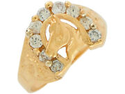 10k Or 14k Yellow Gold White Cz Accented Ladies Lucky Horse And Horseshoe Ring