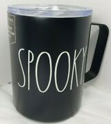 Rae Dunn Halloween Spooky Ivory 12 Oz Insulated Tumbler With Handle Black White