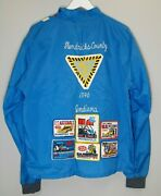 Vintage 70's Racing Jacket Blue, Striped With Racing Patches