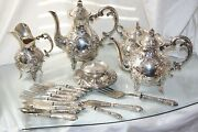 Gorgeous Antique Continental Silver 4pc Coffee And Tea Set Ornate Louis Xv Styleandnbsp