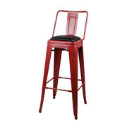 30 High Back Vintage Style Red Kitchen Dining Metal Bar Stool, Pu Leather