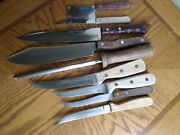 Lot Of 9 Chefco Ekco Flint High Carbon Rogers Stainless Steel Wood Handle Knives