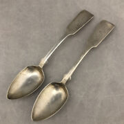 Lot Of 2 Old Antique Geo Hoyt Coin Silver Spoons 6andrdquo