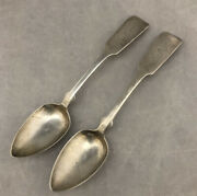 """Lot Of 2 Old Antique Geo Hoyt Coin Silver Spoons 6"""""""