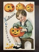 True Vintage Halloween Postcard Rare Clapsaddle Wolf And Co No 1 Greetings