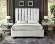 1pc Twin Size Bed Bedroom Furniture White Finish Velvet Fabric Chrome Legs Bed