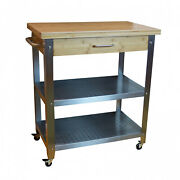 Bamboo And Stainless Steel Rolling Kitchen Cart With Drawer And 2 Shelves