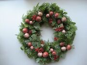 Vintage 16 Christmas Holiday Wreath Plastic Greenery Berries Candy New Nos