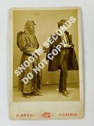 Cabinet Card Photo Unusual Hooded Man W/ Begging Box Broci Florence Italy