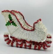 Sleigh Home Table Decor White Red Tinsel Ribbon Christmas Holiday Centerpiece