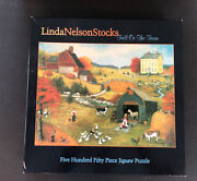 Vintage Linda Nelson Stocks Puzzle Fall On The Farm 550 Pieces Folk Art Complete