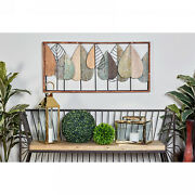Natural 22 Inch Iron And Wood Stylized Leaf Wall Decor By Studio 350