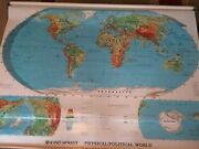 """Rand Mcnally Physical Political World 70"""" Pull Down Map With Bracket"""