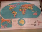 Rand Mcnally Physical/political World 63 Pull Down Map With Bracket
