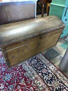 Amazing 18th Century Hand Planed Steamer Chest/trunk 4ft 1andrdquo W W/key Iron Handle