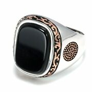 Silver Retro Vintage Rings For Men With Natural Black Onyx Stones High Quality