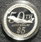 1997 Singapore 50th Anniversary Sia 21gm 5 Sliver Coin Andoslash38mm+free1 Coin10778