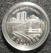 1989 Singapore Mass Repid Transit 21gm 5 Sliver Coin Ø38mm+free1 Coin10779