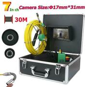 Drain Pipe Sewer Inspection Video Camera W/30m Cable 7 Lcd Monitor Ip68 1000tvl
