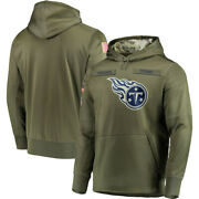 Menand039s Tennessee Titans Olive Salute Service Sideline Therma Sweatshirt Hoodie