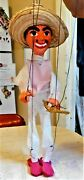 Vintage Mid-20th Century Paper Mache Mexican Bandito 18 Tall Marionette Puppet