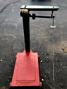 Vintage Antique Industrial Cast Iron Platform Fairbanks Scale With Weights Works
