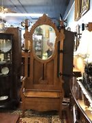 C1900 American Oak Hall Tree Beveled Shield Shaped Mirror With Lift Up Storage