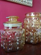 Set Of 2 Vintage Atterbury Scroll Imperial Glass Jars Set Amber Canister