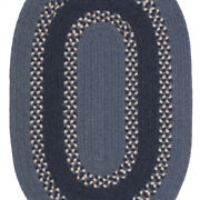 Corsair Banded Medium Blue Wool Blend Oval Country Cottage Braided Rug