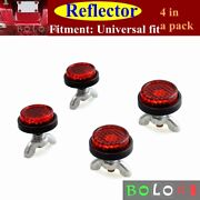 4x Pack Tag Bolts Fasteners Mini License Plate Red Reflectors For Motorcycles