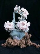 14and039and039 Natural Dushan Jade Handcarved Home Decorate Auspicious Peony Flower Statue