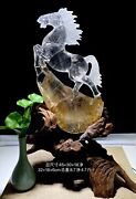 12and039and039 Natural White Rock Crystal Quartz Home Feng Shui Decorate Wealth Horse