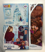 Lot Of 3 Disney Frozen 2 Princess Anna Dress Up Wig-3d Puzzle-knitted Scarf Dyi
