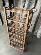 Authentic Antique Shoe Factory Rack With 6 Doweled Shelves 22andrdquo Wide X 54andrdquo Tall