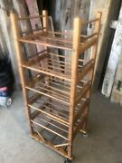 """Authentic Antique Shoe Factory Rack With 5 Doweled Shelves 22"""" Wide X 52""""tall"""