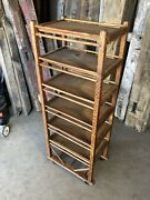 """Authentic Antique Shoe Factory Rack 6 Solid Wood Shelves 22"""" Wide X 55"""" Tall"""