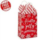 250 Christmas Rose Paper Shpping Bags Drawstring Merry Little Gifts Packaging