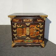 Antique Oriental Asian Hand Painted Side Table Cabinet End Table Brass Hardware