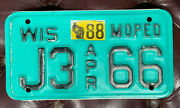 1988 Wisconsin Moped License Plate J366