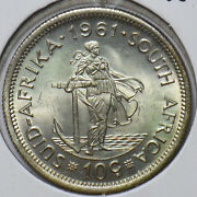 South Africa 1961 10 Cents Gold Naked Man 294202 Combine Shipping