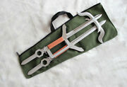 Chinese Martial Arts Double Handle Battle Axe Stainless Steel Hook Sword