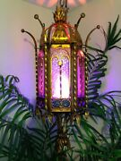 Vintage Lamp Cathedral 100+ Yrs Old Hand Forged 42 Long Hanging