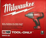 Milwaukee 2663-20 M18 1/2 High Torque Impact W/ Friction Ring New In Box 2 Day