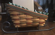 1997 Longaberger Large Sleigh/vegetable Basket W Iron Runners Liner And Protector