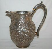 Antique 1866 S. Kirk And Sons Coin Silver Repousse Water Pitcher Hand Decorated